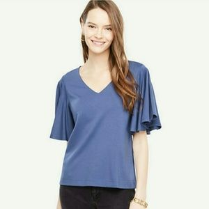 Ann Taylor Blue Top with Angel Sleeves
